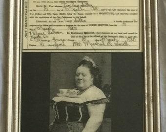 Antique Framed Print of Tea Cup Sallie License for Prostitution Cafe Decor 1920s Afternoon Tea Humor