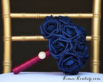NAVY BRIDESMAID BOUQUET. Navy Blue Bridesmaid Bouquet With Gold Rhinestone Brooch. Navy Bouquet. Bridesmaid Bouquet. Brooch Bouquet.