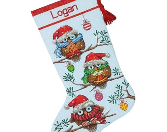 "Counted Cross Stitch CHRISTMAS Stocking Holiday Hooties OWL Dimensions Kit 16"" -Free US Shipping!!!"