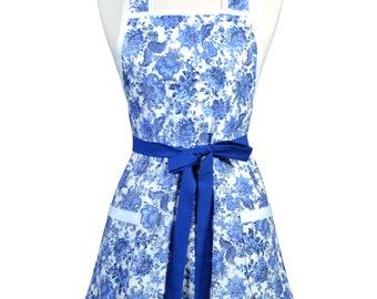 Womens Vintage Apron - Delft Blue Floral Kitchen Apron - Cute Retro 50s Style Apron - Over the Head Apron - Monogram Option