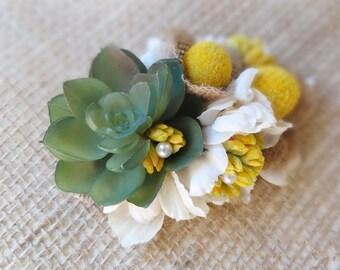 succulent hair clip, yellow flower hair clip, flower hair accessories, rustic wedding headpiece, garden hair accessories, billy button pods