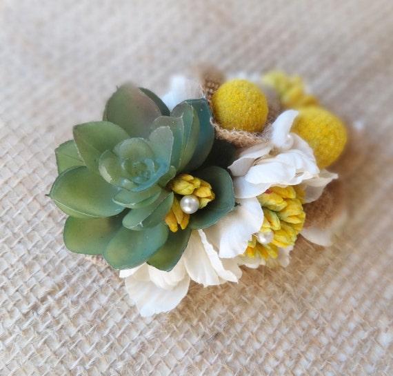 Succulent hair clip yellow flower hair clip flower hair mightylinksfo