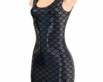 BLACK Holographic Mermaid Scale  Bodycon Clubwear Dress with Tank Style Neckline  1500102