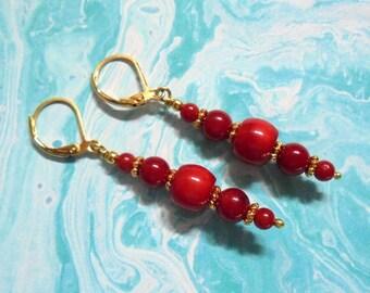 Red Coral Earrings (3777)