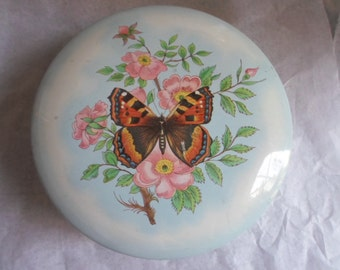 Vintage Daher Round Tin Box Butterflies Small England Collectible 1960s to 1970s Metal Pastels Flowers