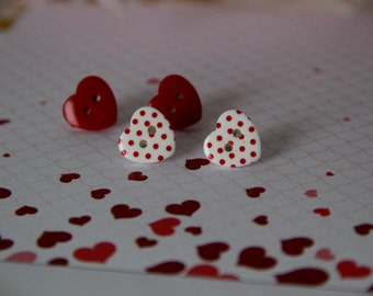 Sold Red Heart and White with Red Polka Dot Button Stud Earrings: set of 2