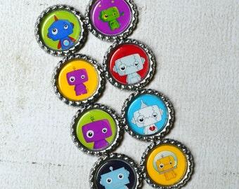 Robot Bottlecap Magnets- Robot Birthday Party- Party Favors- Gift for Boy- Kid Gift- Robot Kids- Science Teacher Gift- Robot Locker Magnets