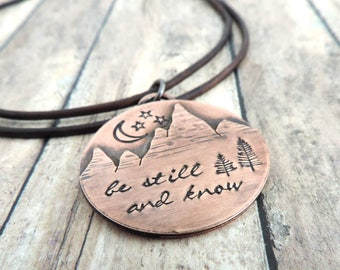 Be Still and Know Necklace - Mountain Necklace - Night Sky Moon and Stars - Christian Jewelry - Mountain Peaks - Gift for Hiker