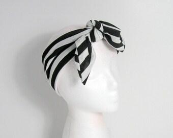 Black and White Striped Hair Scarf Black and White Boho Head Wraps Jersey Neck Scarves Black and White Headbands Yoga Head Scarves Headgear