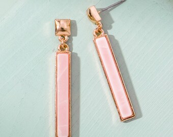 Rose Quartz bar Earrings, Natural stone earring, Dainty earrings, Minimalist earrings, Bridesmaid earrings, Birthday gift, Mothers day