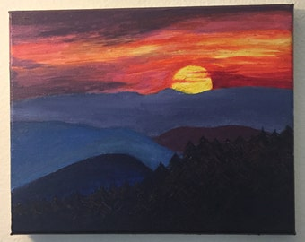 """Blue-ridge sunset oil-painting 8X10"""" painted by me"""