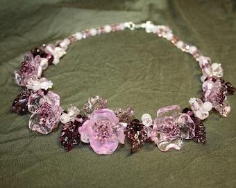 Handmade lampwork  rose flower necklace