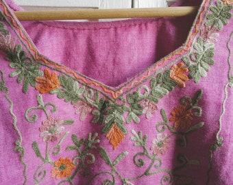 FREE SHIPPING Upcycled hand sewn womens purple vintage boho hippy top size small