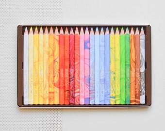 Multicolored colored pencils, marbleized pencils, multi-colored pencils, multi-color Koh-i-noor Magic