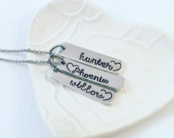 Custom Hand Stamped Mother's Necklace - Mom Personalized Necklace - Mother's Day from Husband - Hand Stamped Jewelry - Heart Necklace
