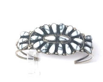 Handmade Native American Navajo Sterling Silver Howlite Bracelet