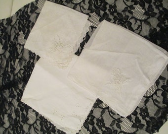 Vintage Set of 3 Hankies Corner Flower. Something Old Weddings.Craft Project.Junk Journal.Decorations. Lace & Embroidery Handkerchief Ladies