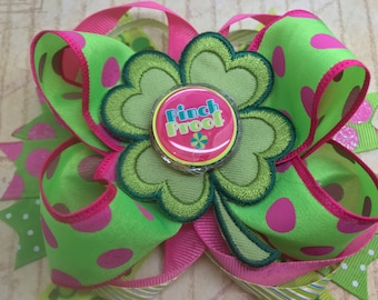 """Handmade Boutique stacked hair bow st. Patrick's day green shamrock themed 5"""""""