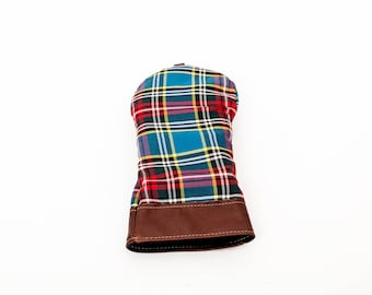 Steurer & Jacoby Leather and Wool Tartan Golf Club Driver Head Cover