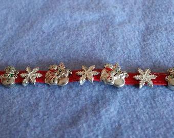 Holiday Bracelet/Leather /Metal Slide Charms