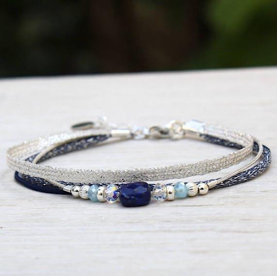 Multi strands String Bracelet swarovski pearls and lapis lazuli gemstones