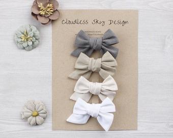 Neutrals bow set / White hair bows / Baby hair clips / Toddler hair bows / Gray bow / Mini bows / Baby girl bows / Hair bows