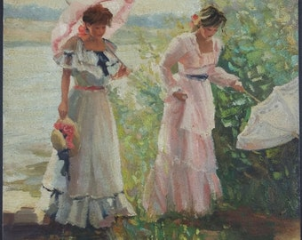 "Antique Painting ""Elegants"" Oil On Panel Original Old Vintage"