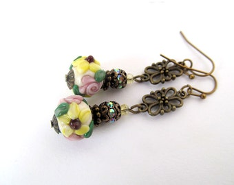 Floral Lampwork Bead Earrings, Downton Abbey, Shabby Chic Jewelry, Pink and Yellow Roses, Flower Earrings, Victorian Earrings, Botanical