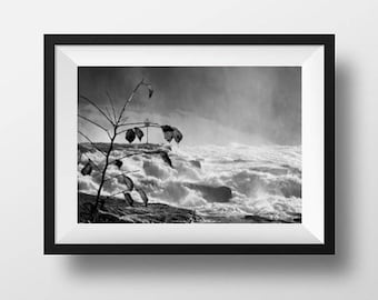 Rhine Falls print, monochrome print, wall art, home decor, fine art print, black and white print, waterfall photo