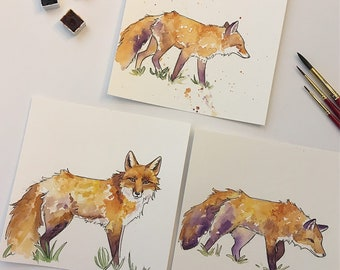 Original Artwork - Red Fox Ink & Watercolor Studies - Small Affordable Original Painting by Savannah Mitchell / korlista / corlista