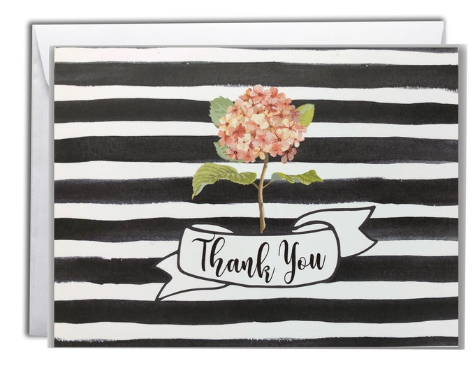 Thank You Note Cards   Boxed Set 10 Thank You Cards   Vintage Hydrangea Design
