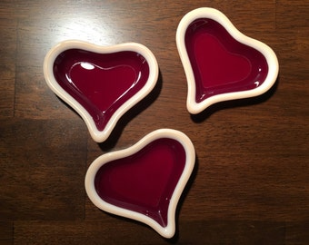 Mini heart dishes, fused glass, set of three, red and pink