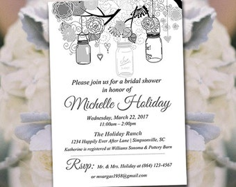 Rustic Bridal Shower Invitation Template - Mason Jar Wedding Shower Template - Black White Gray Wedding Shower Invitation Download