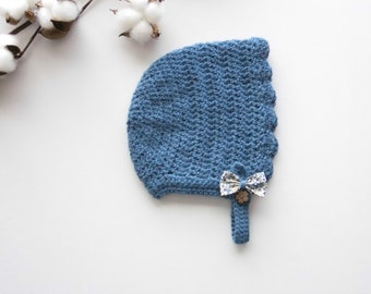 "Baby bonnet, bonnet, crocheted, Liberty ""Eloise chickadee"""