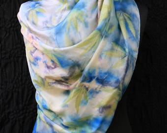 Hand-painted Silk Shawl. Luxury Handmade Silk Scarf. Natural Colors Silk Scarf. Eco-print scarf.