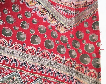"Antique Japanese silk kimono fabric 101 cm x 36 cm ( 40"" x 14"") red silk with metallic silver and gold accents"