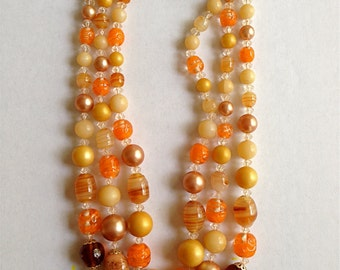 Vintage Japan Orange Glass Beaded Necklace