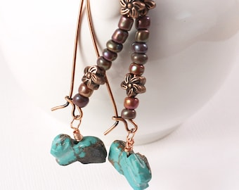 Rabbit Earrings - Turquoise Bunny Beads, Rainbow Purple Glass Seed Beads, Copper Earrings