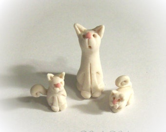 White Mama Cat with 2 Kittens Tiny Figurines Artisan Sculpted Dollhouse Scale Collectible or Cat Lover Gift