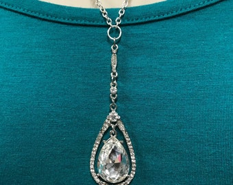 Chandelier pendant necklace, crystal necklace, wedding jewelry, bridal necklace