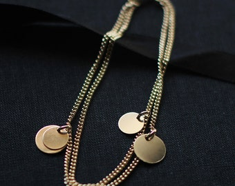 """gold charm bracelet - 14k gold filled coin bracelet - gift for women - """"bellissima"""" handmade jewelry"""