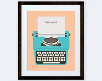 Retro typewriter with Hello World quote, Blue Vintage typewriter print 8x10 INSTANT DOWNLOAD