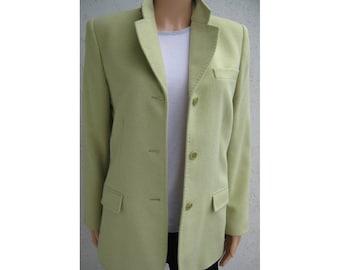 Elegant Vintage Wool & Cashmere Jacket by JODHPUR, Galeries Lafayette, Paris, France. Soft Green, Fully Lined. Size Eu 40, Fr 42, UK 12, US8