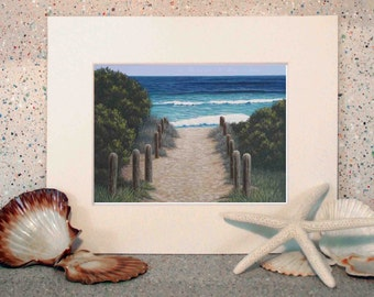 Beach art, seascape original oil painting fine art print on paper by Elena Parashko, sandy pathway to a beach, coastal print, ocean art, sea