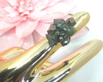 Pyrite,Green semi precious rough stone and oxidized silver 925 wire