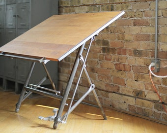 restored vintage industrial drafting table by Sautereau Lucien of Paris, France