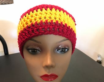 Maroon and gold beanie