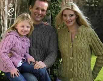 Family Aran jumper/sweate r knitting pattern PDF instant download