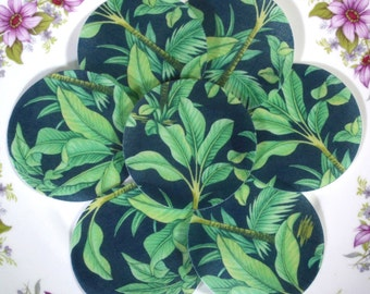 Edible Tropical Jungle Greens Chintz Leaves Circles Wafers Rice Paper Summer Wedding Spring Cake Decorations Cupcake Biscuit Cookies Toppers