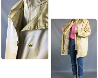 Waterproof Jacket Vintage 80s Vinyl Pvc jacket M L Plastic Rain Retro Vintage Coat Beige Hooded  Oversized Slouchy Coat Plus Size Coat VTG